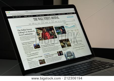 Milan, Italy - August 10, 2017: Wall Street Journal Website Homepage. It Is An American Business-foc