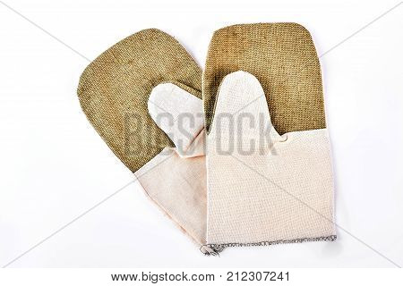 Kitchen cotton gloves, white background. Pair of kitchen oven two color gloves isolated on white background. New kitchen gloves on sale.