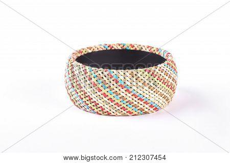 Female fashion handmade bracelet. Woman stylish patterned bracelet isolated on white background. Woman luxury accessory.