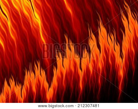 Abstract Fire Flames On Black Background. Flame Tongue
