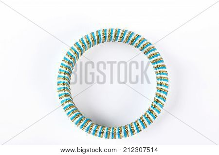 Fashion design bracelet, top view. Woman modern bangle on white background. Female stylish accessory.