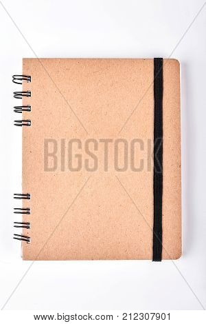 Vintage spiral notebook with binder. Paper notepad with clipping path. Craft paper notebook. Retro style binder notepad.