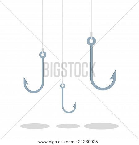 Empty fishing hook. Tackle for fishing. Vector illustration