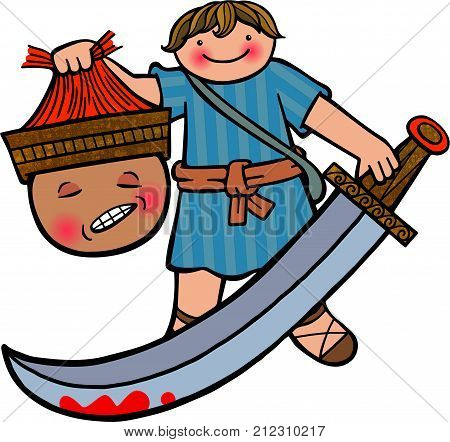 Cartoon illustration of the young boy David holding up the head of the giant Goliath.