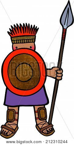 Cartoon illustration of a philistine soldier with a shield and a spear.