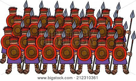 Cartoon illustration of an army of Philistine soldiers.