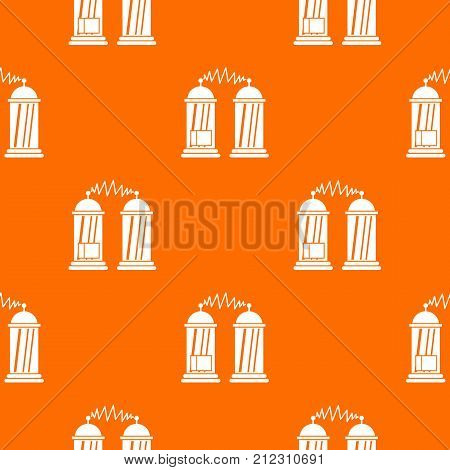 Electrical impulses pattern repeat seamless in orange color for any design. Vector geometric illustration