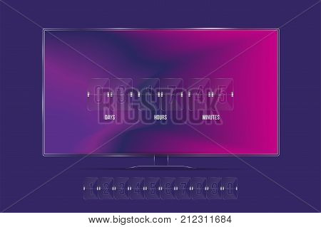 Transparent Countdown Timer And Clock Counter On The Tv Screen And With A Set Of Numbers. Flat Vecto