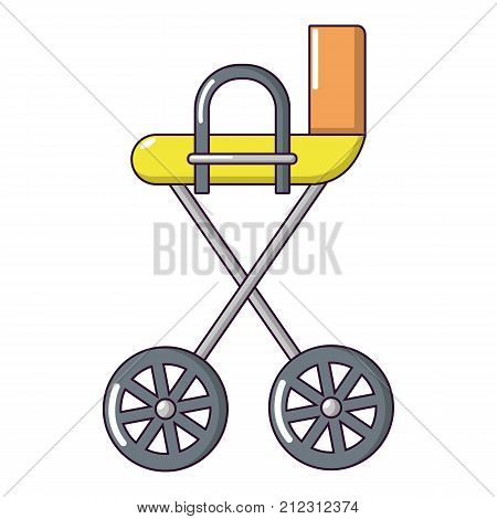 Baby carriage yellow icon. Cartoon illustration of baby carriage yellow vector icon for web