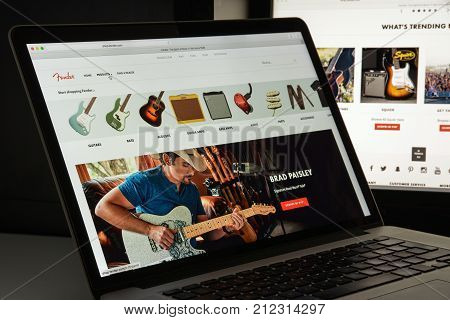 Milan, Italy - August 10, 2017: Fender Website Homepage. It Is An American Manufacturer Of Stringed