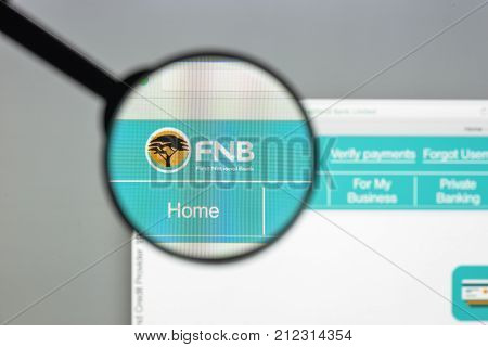 Milan, Italy - August 10, 2017: Fnb Bank Website Homepage. It Is One Of South Africa's