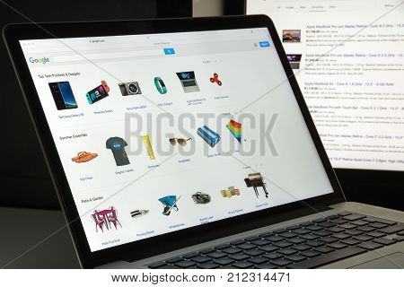 Milan, Italy - August 10, 2017: Google.com Shopping Website Homepage. Google Logo Visible.