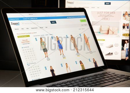 Milan, Italy - May 7, 2017: Zappos Website Homepage. It's A Fashion E-commerce Store.