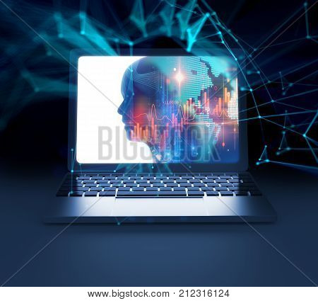 3D Rendering Of Virtual Human Silhouette On Laptop Screen