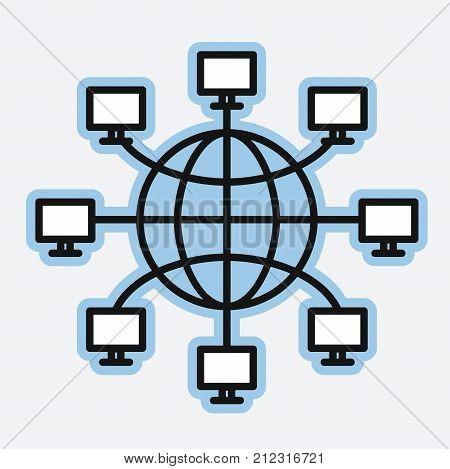 Computer networks earth globe, World Wide Web concept, vector illustration