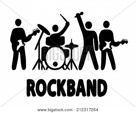 Rock band, bassist, drummer, vocalist and guitar player icons, simple vector illustration