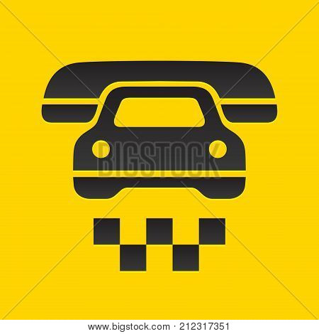 Taxi cab sign, call a car by phone symbol, vector illustration