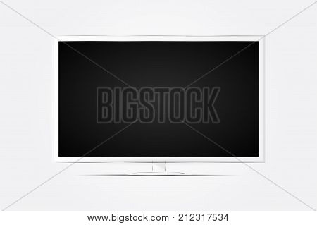 Realistic Tv Screen In Modern Style On White Background. Flat Vector Illustration Eps 10