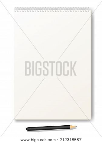 Vector illustration of a clean drawing album with a pencil. Isolated white background. Sketchbook format a4. Book sheet paper with spiral. Album for sketches.