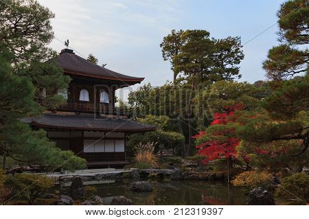 Ginkakuji temple and decorated zen garden in autumn Kyoto Kansai Japan.