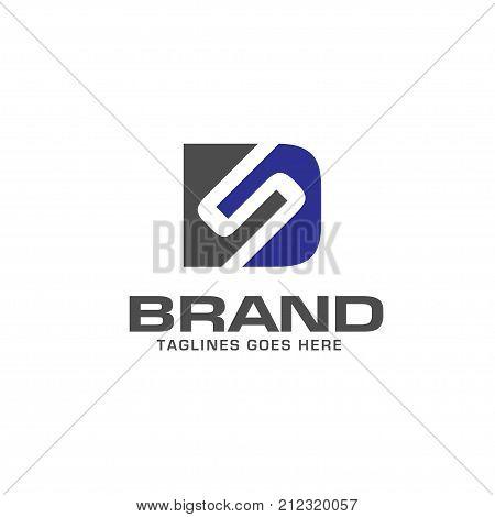 DS letter logo design vector illustration template, D letter logo vector, letter D and S logo vector, creative Letter DS letter logo