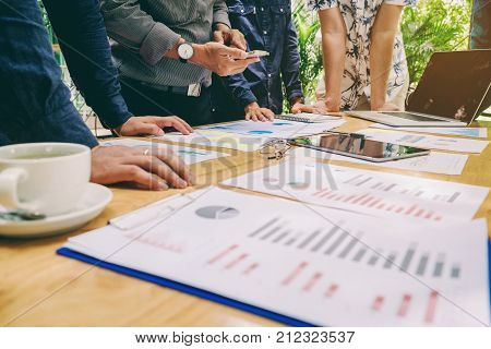 Startup Business Team Colleagues Meeting Planning Strategy Analysis Discussing New Plan Financial Ne