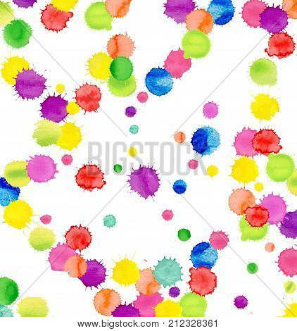 Multicolored Watercolor Blot Template. Abstract Artistic Background
