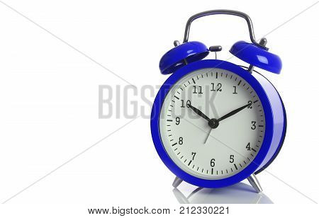 Blue alarm clock isolated on white backgroundshows ten hours ten minutes of the morning time to get up to wake up and have breakfast morning or evening jog to go to work.