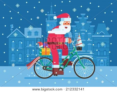Santa Claus riding snow bicycle with gifts on Xmas Europe city background. Christmas bike with Father Frost delivering presents concept illustration. Winter holidays banner template.