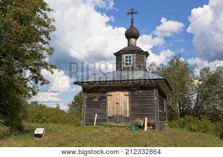 Vakhrushevo, Verkhovazhsky district, Vologda region, Russia - August 4, 2014: Old chapel in a village Vakhrushevo