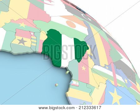 Flag Of Nigeria On Globe