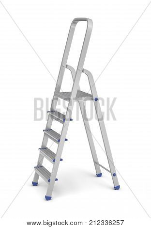 3d rendering of a metal builder's step ladder with blue fittings in side view on a white background. Going upwards. Building supplies. Steps and ladders.