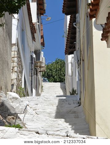 Skiathos Greek Island and Street Stairs View