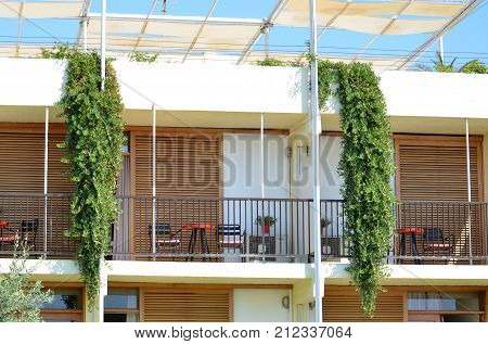 Skiathos Greek Island Hotel Facade with flowers