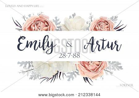 Vector floral wedding vector photo free trial bigstock vector floral wedding invitation invite save the date card design with flower bouquet of peach white stopboris Image collections