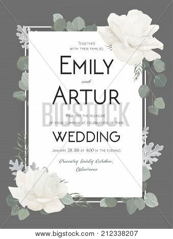 Vector floral wedding invitation invite save the date card design with Flower Bouquet of white Roses peony eucalyptus branches dusty miller silver leaves herb. Elegant tender cute template on gray