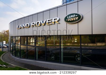Prague, Czech Republic - November 5: Land Rover Car Company Logo On Dealership Building On November