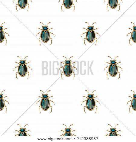 Emerald and gold beetle brooch vector seamless pattern. Elegant insect background. poster