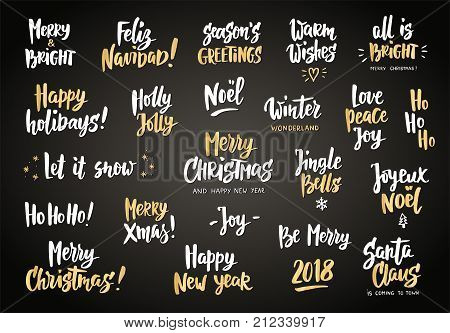 White and gold holiday greeting quotes and wishes. Hand drawn text, brush lettering. Merry Christmas, Happy New year, Happy Holidays. For cards, gift tags and labels, photo overlays, party posters.