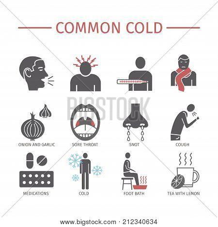 Common cold. Flu season. Symptoms, Treatment Icons set Vector signs
