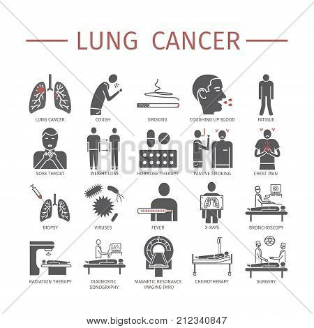 Lung Cancer . Symptoms, Causes. Flat icons set. Vector signs for web graphics