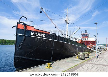 PUUMALA, FINLAND - JUNE 17, 2017: The old steamship