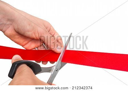 Hand With Scissors Cutting Red Ribbon - Opening Ceremony