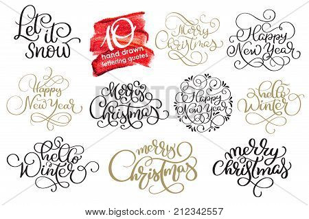 Set of ten hand written Christmas calligraphy lettering texts Merry Christmas Happy New Year Hello Winter for greeting card. handmade vector illustration.