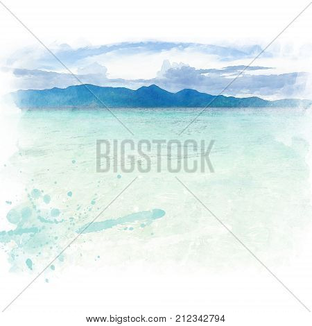 Clear blue sea with mountain and blue sky with cloud. Watercolor painting (retouch).