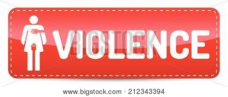 Violence - Banner with woman pictogram with shadow
