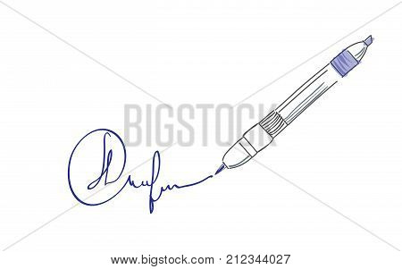 Sketch doodles waterproof marking pen. Brush marker pen vector illustration.