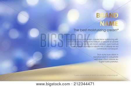 Advertising poster for perfect moisturizing cosmetic product, defocused blue background with white luminous elements, sparkling sequins. Vector realistic design for packaging