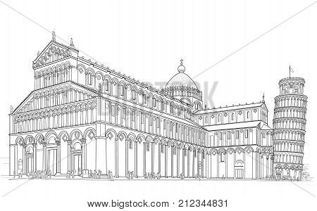 Sketch of the Cathedral of the Duomo and the Leaning Tower in Pisa