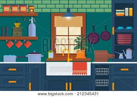Modern kitchen interior with furniture and cooking devices. Cozy room interior with table stove cupboard and dishes. Flat style vector illustration.Vector illustration of kitchen interior.